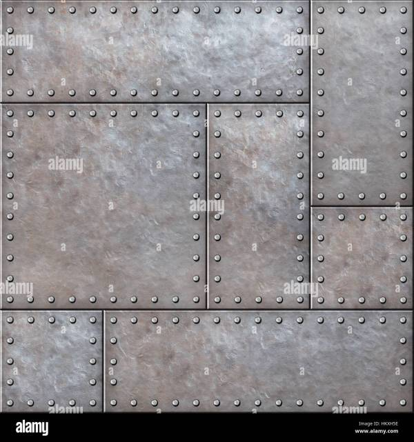 Rustic Metal Plates With Rivets Seamless Background Texture Stock Royalty Free