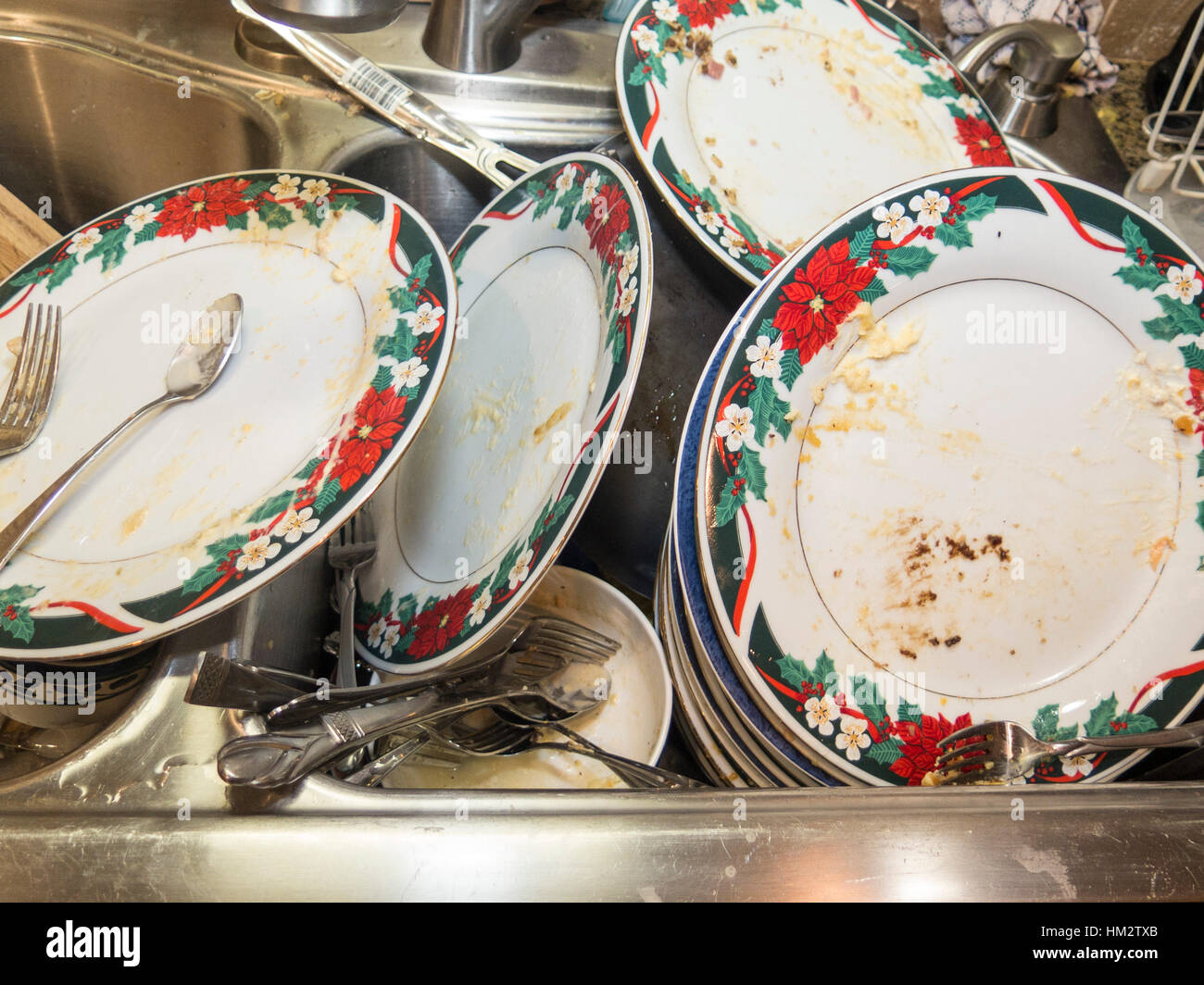 Pile of dirty dishes in sink Stock Photo 132829155  Alamy