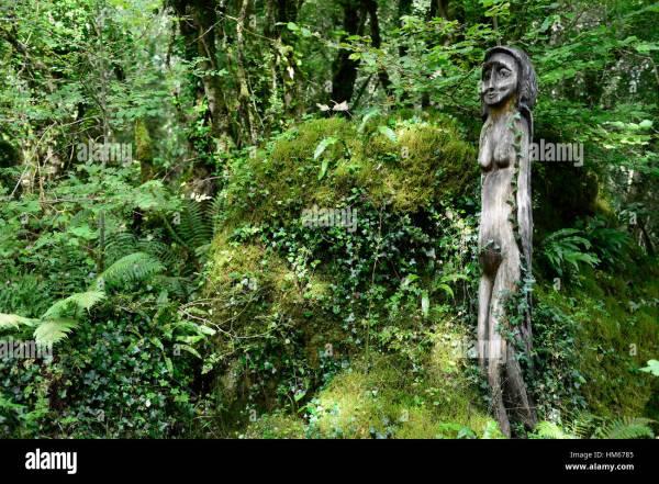 Green Goddess Wood Wooden Sculpture Statue Forest