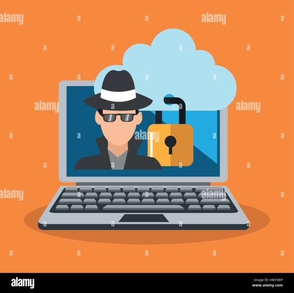 Laptop Infected Malware Icon Cartoon Stock &
