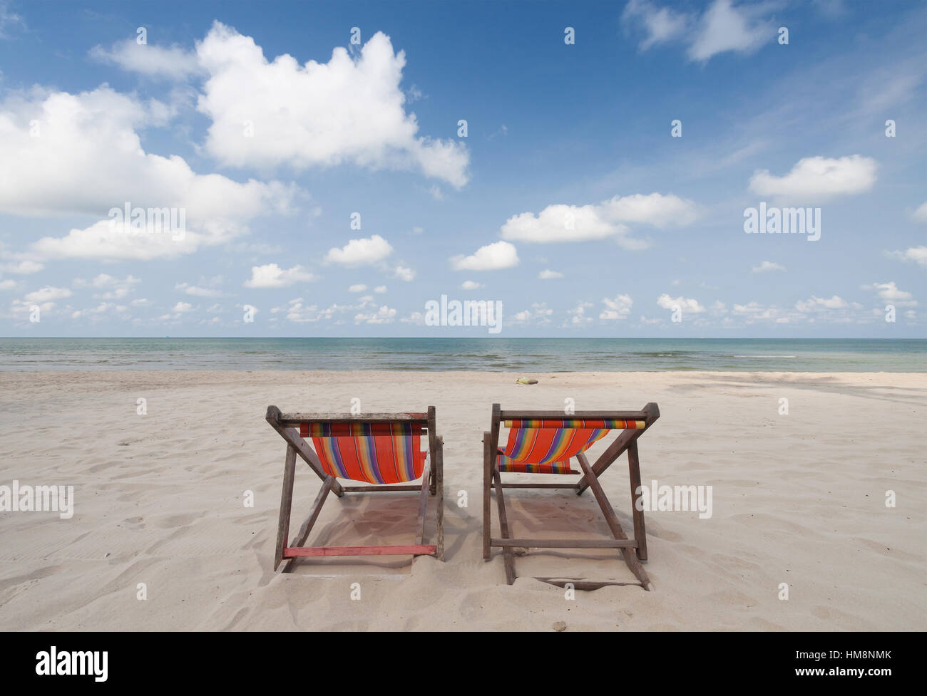 perfect beach chairs over chair tables uk on tropical white sand stock photo