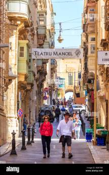 Street In Valletta Town Malta With Colourful Wooden