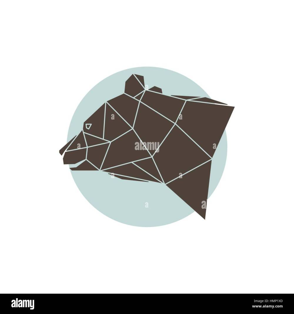 medium resolution of abstract geometric brown bear head with side view vector illustration