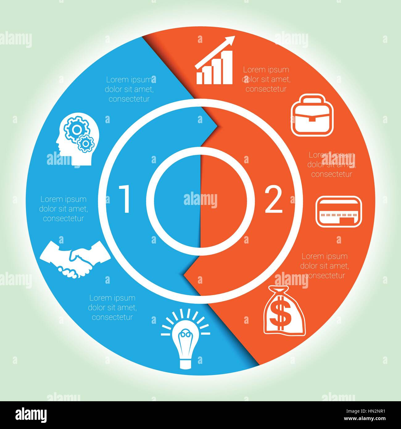 hight resolution of template cyclic diagramme for infographic two position area chart ring arrows pie chart stock