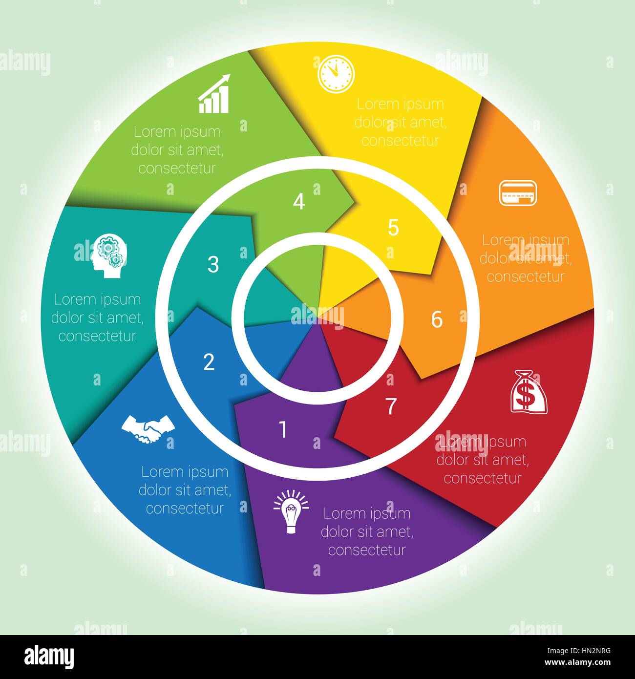 hight resolution of template cyclic diagramme for infographic seven position area chart ring arrows pie chart stock