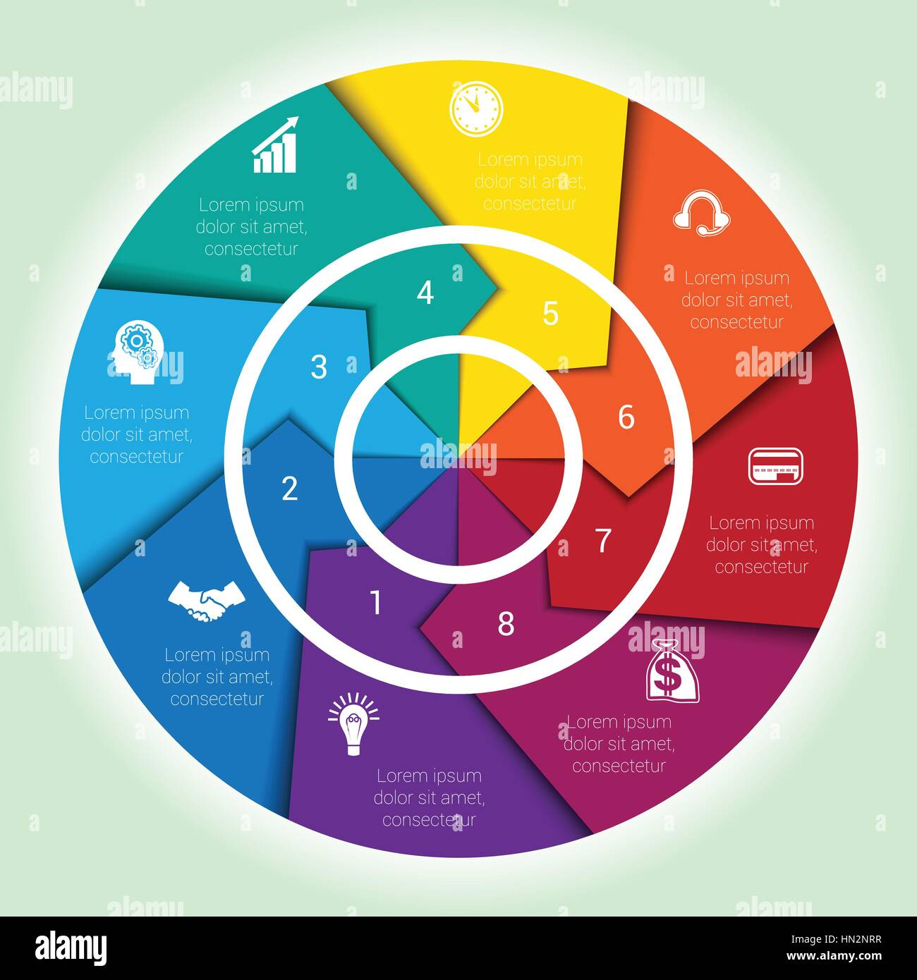 hight resolution of template cyclic diagramme for infographic eight position area chart ring arrows pie chart stock