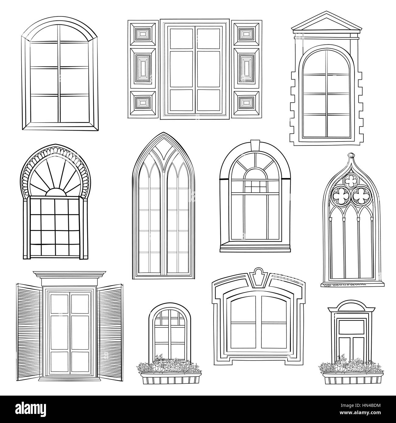 Window set. Different architectural style of windows