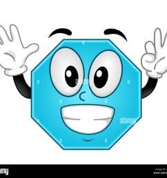 mascot illustration of an octagon showing eight fingers stock image [ 1300 x 1181 Pixel ]