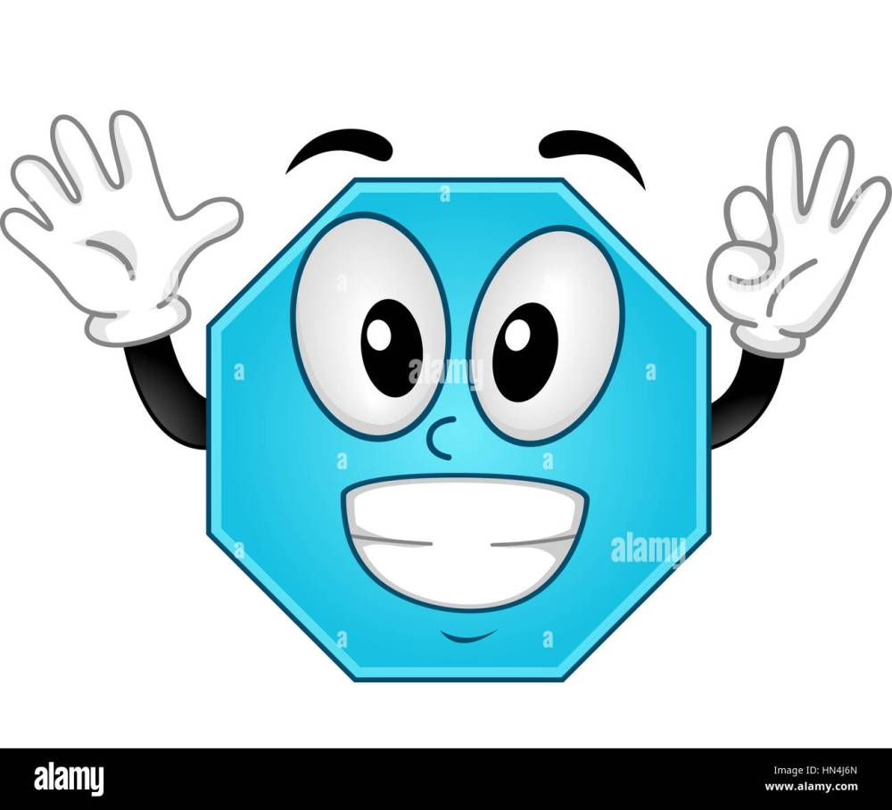 medium resolution of mascot illustration of an octagon showing eight fingers stock image