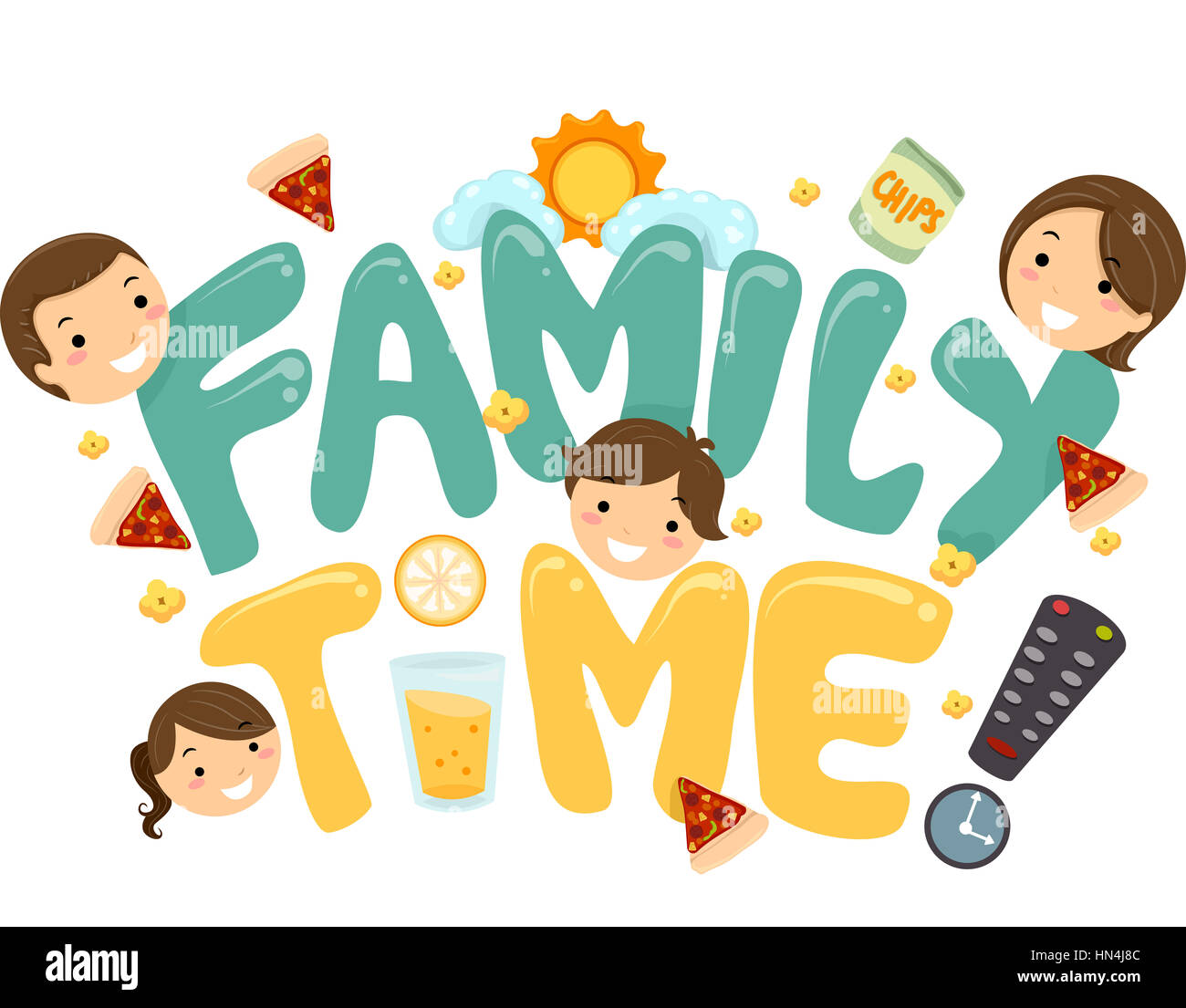 Illustration Of A Family Tv Time Lettering Stock Photo