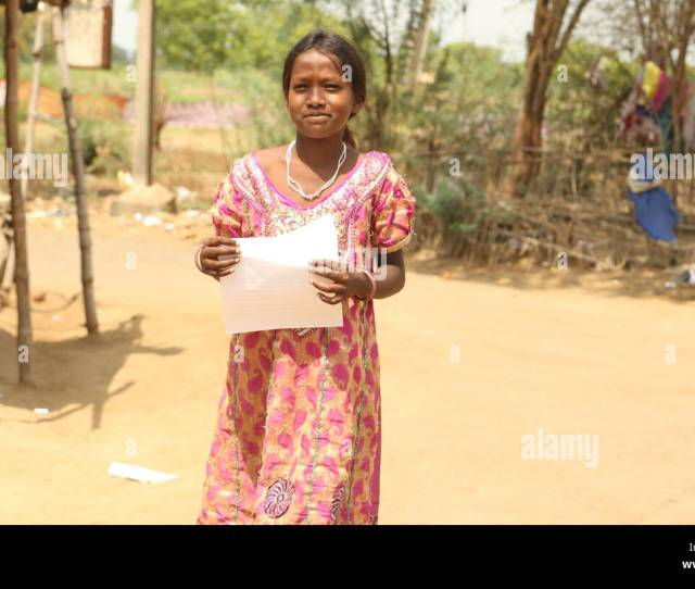 Unidentified Happy Indian Rural School Girl At Their Village At India Stock Image