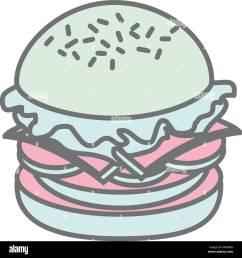 silhouette pastel color big hamburger vector illustration stock vector [ 1300 x 1383 Pixel ]