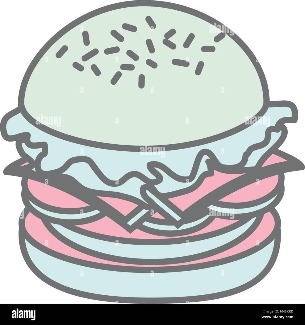medium resolution of silhouette pastel color big hamburger vector illustration stock vector