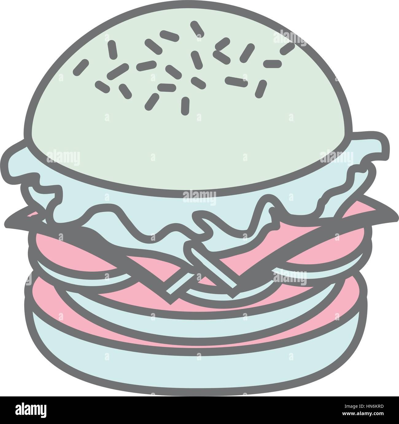 hight resolution of silhouette pastel color big hamburger vector illustration stock vector