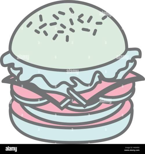 small resolution of silhouette pastel color big hamburger vector illustration stock vector