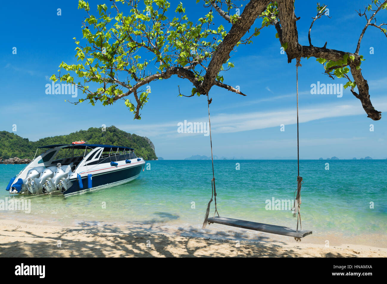 swing chair thailand dining protectors wooden hanging on tree near beach at island in