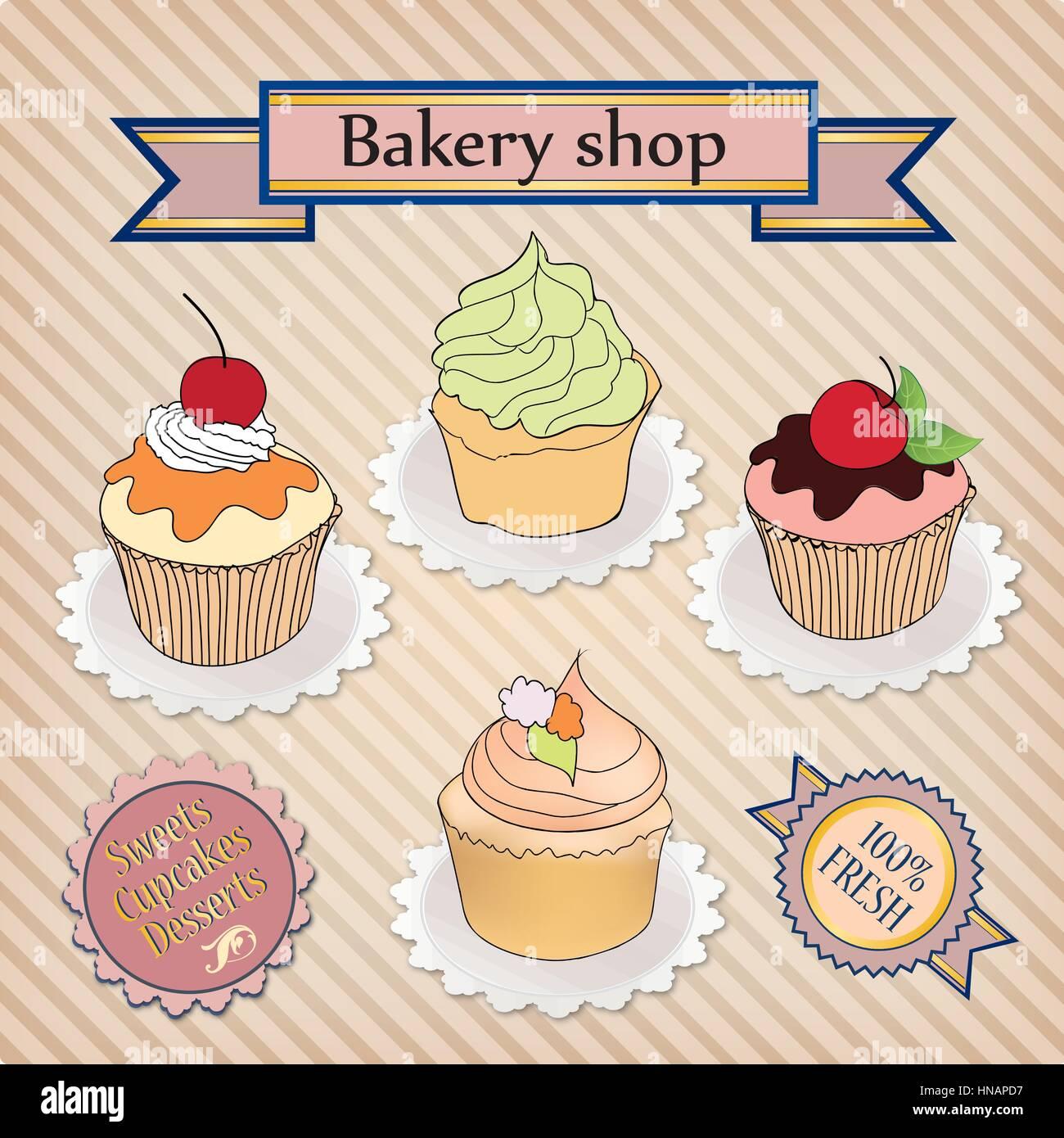 Bakery Shop Label Vintage Cupcake Poster Design Sweets In
