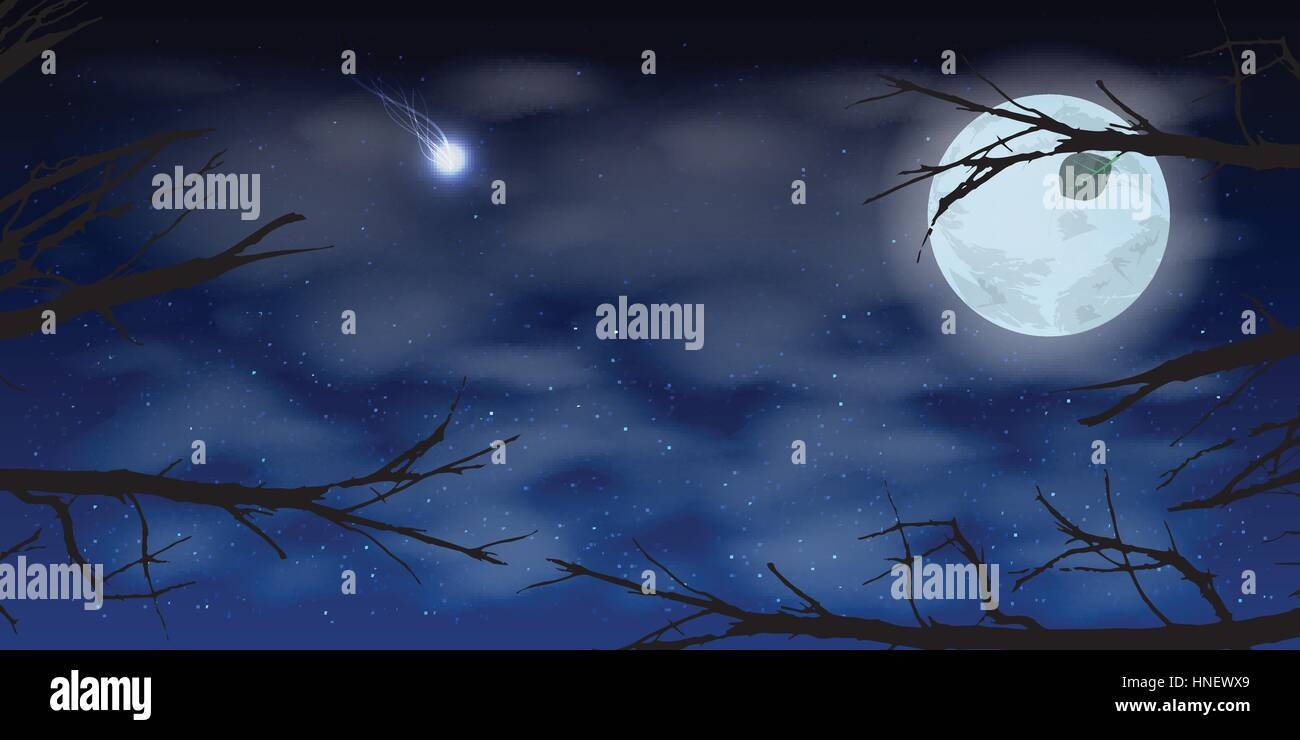 sky moon night clouds