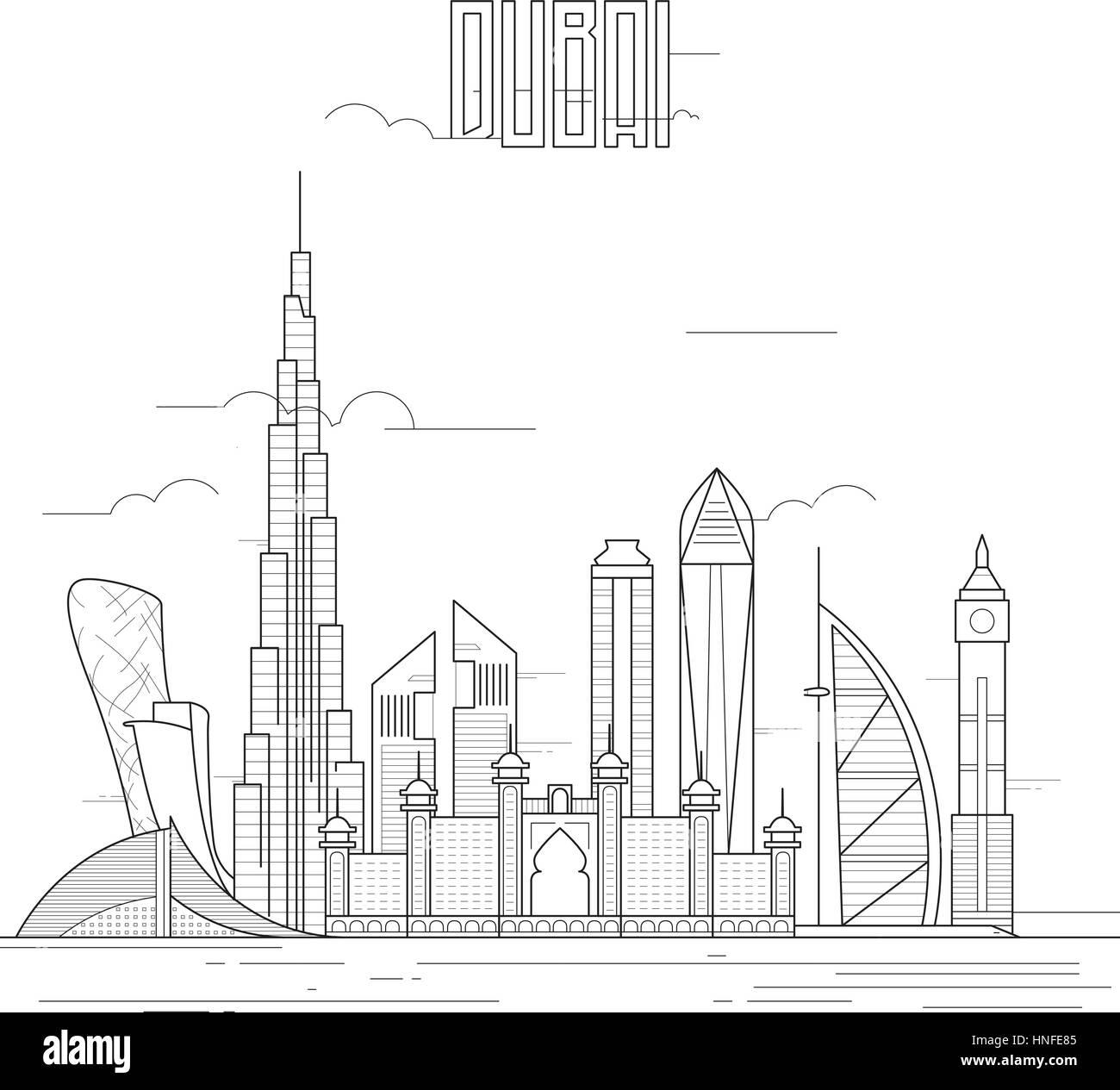 Dubai City With Iconic Buildings Line Art Flat Design
