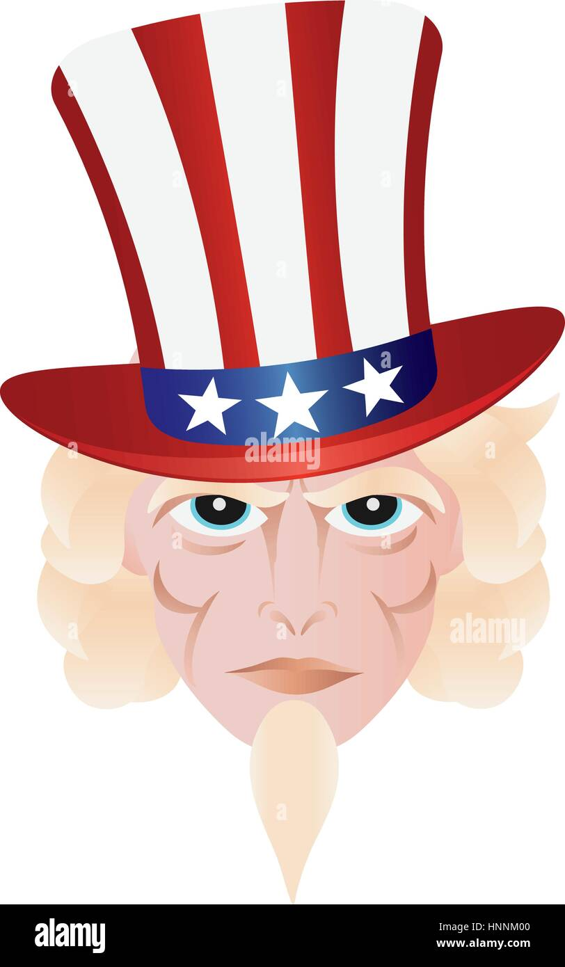 Uncle Sam In Fourth Of July Hat On Independence Day Illustration Stock Vector Image Art Alamy