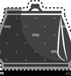 monochrome sticker woman purse icon design vector illustration [ 1300 x 1183 Pixel ]