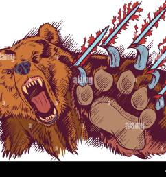 vector cartoon clip art illustration of a brown bear mascot slashing or clawing at the foreground  [ 1300 x 1009 Pixel ]