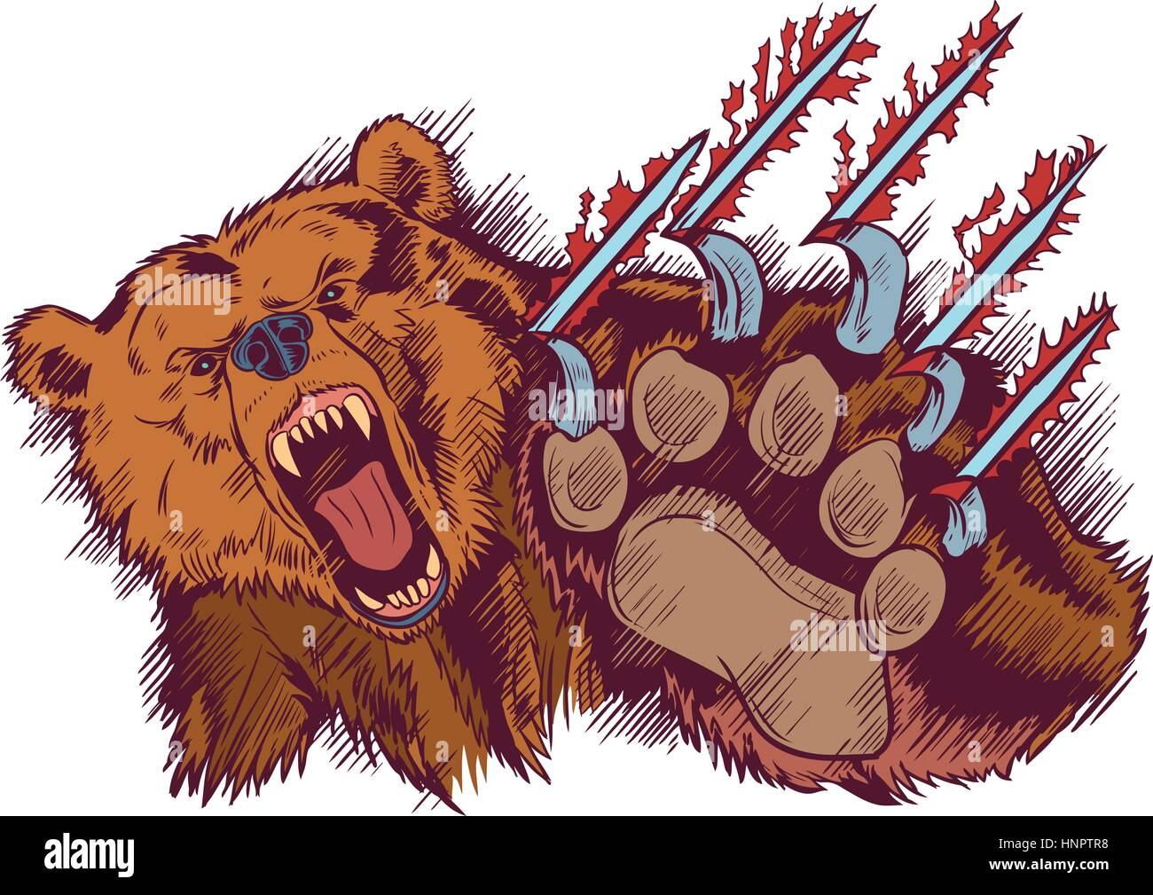 hight resolution of vector cartoon clip art illustration of a brown bear mascot slashing or clawing at the foreground