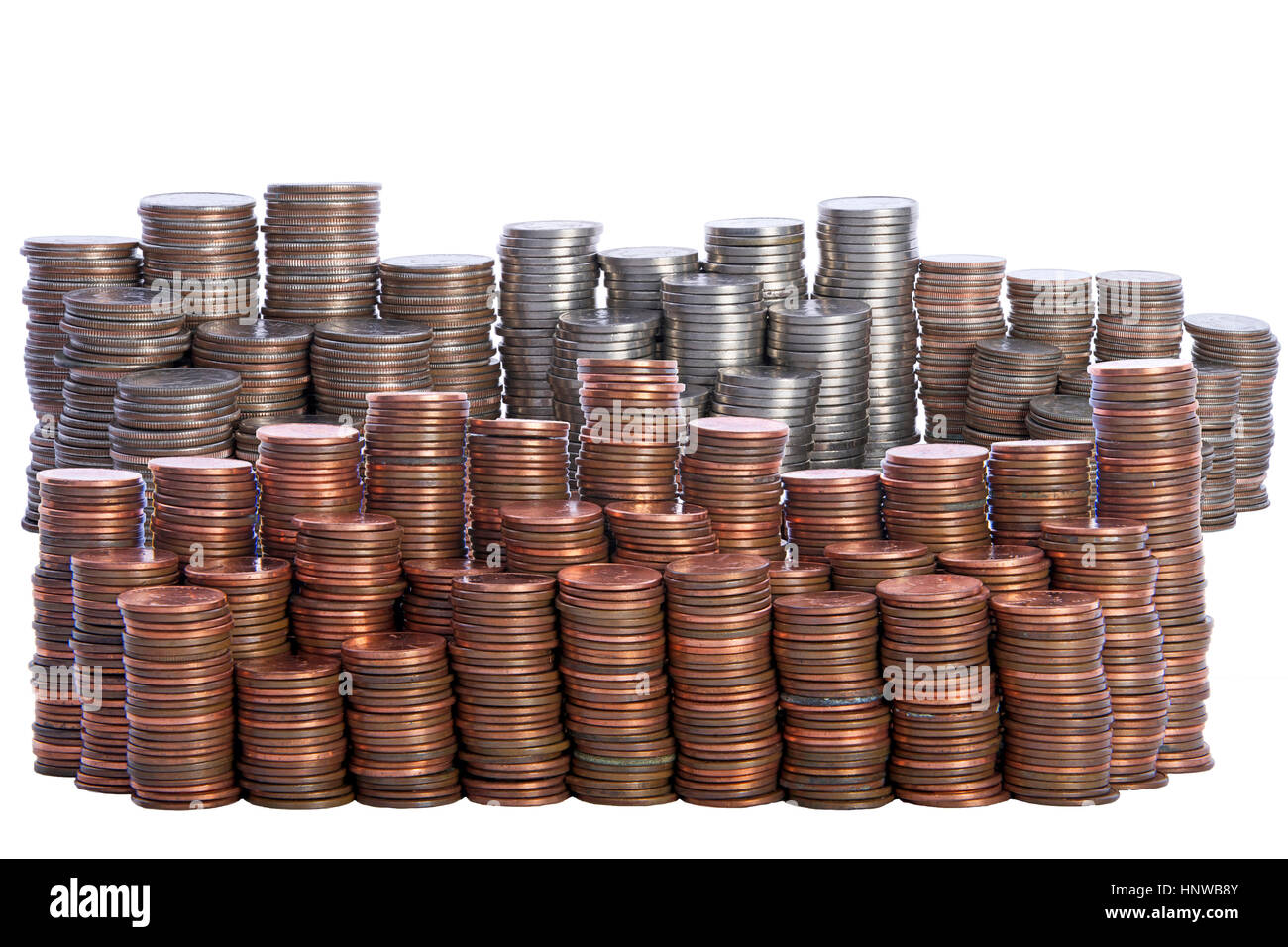 Money Stacks Of Coins Quarters Nickels Dimes And
