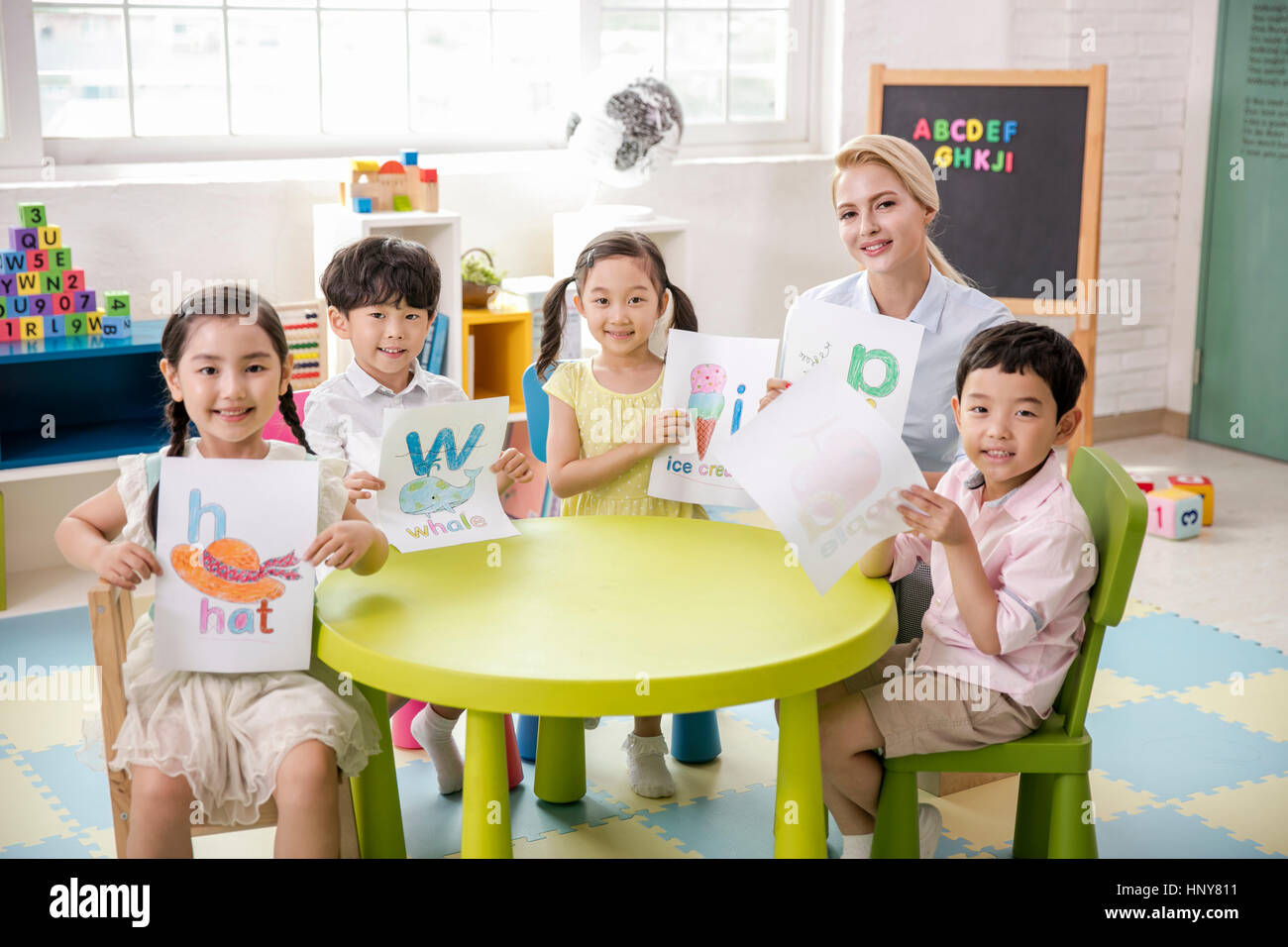 English Class At Kindergarten Stock Photo