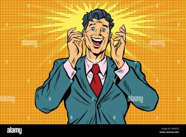 Happy Man. Vintage Pop Art Retro Comic Book Vector
