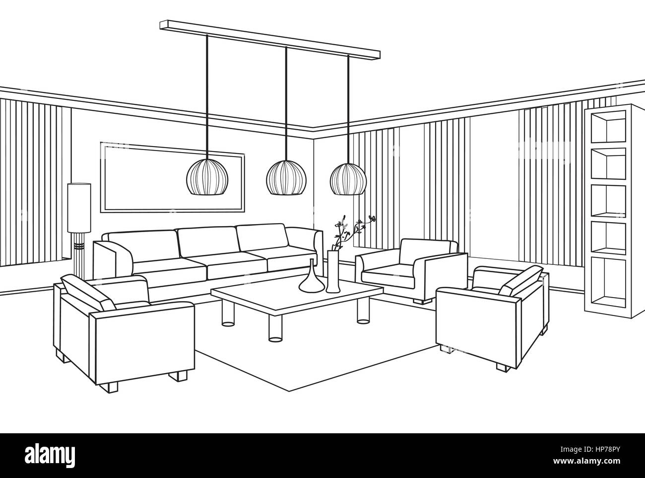 Living Room View Interior Outline Sketch Furniture Blueprint Stock