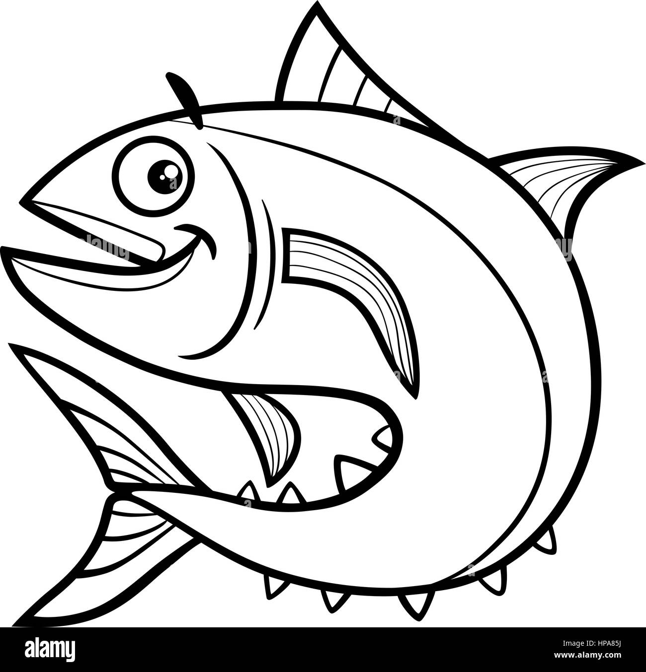 A Cutecartoon Fish Coloring Page Black And White Ausmalbild Fisch