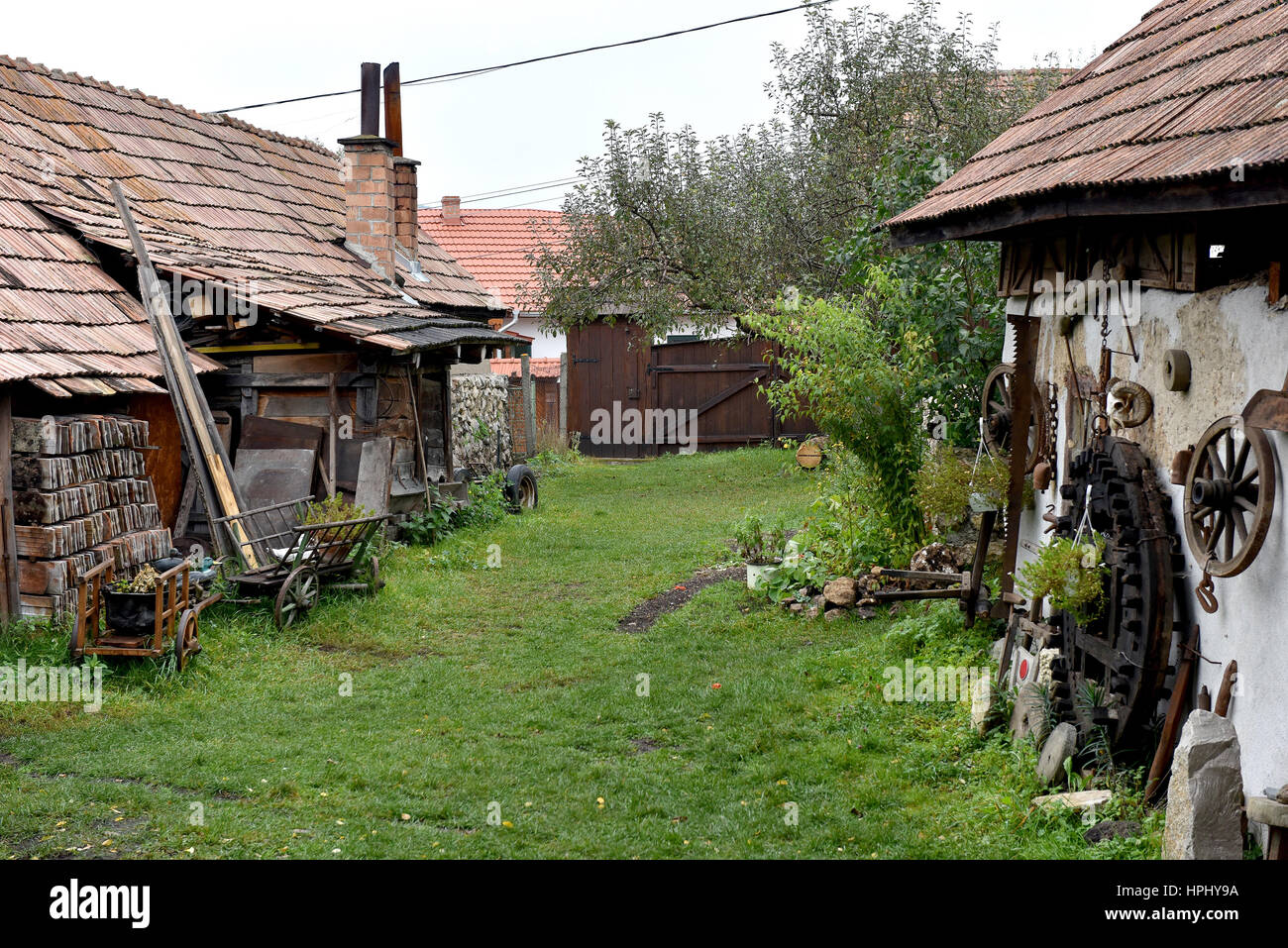 Rural back yard with decoration of vintage objects in