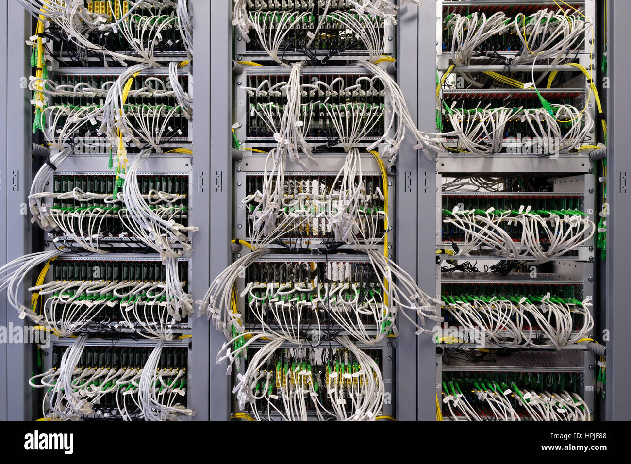 hight resolution of detail of cable management on a data centre server room