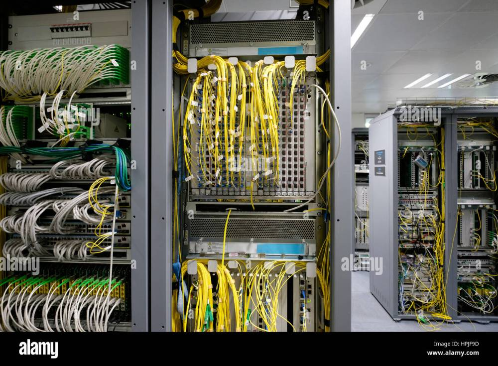 medium resolution of detail of cable management on a data centre server room