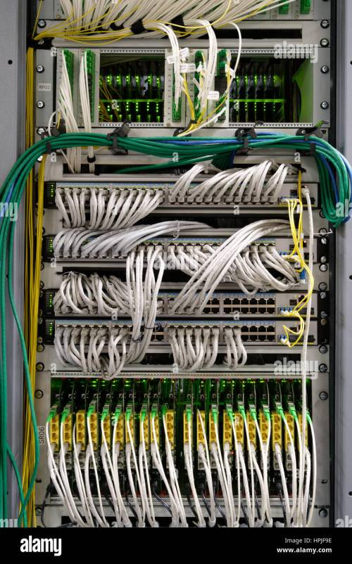 small resolution of detail of cable management on a data centre server room