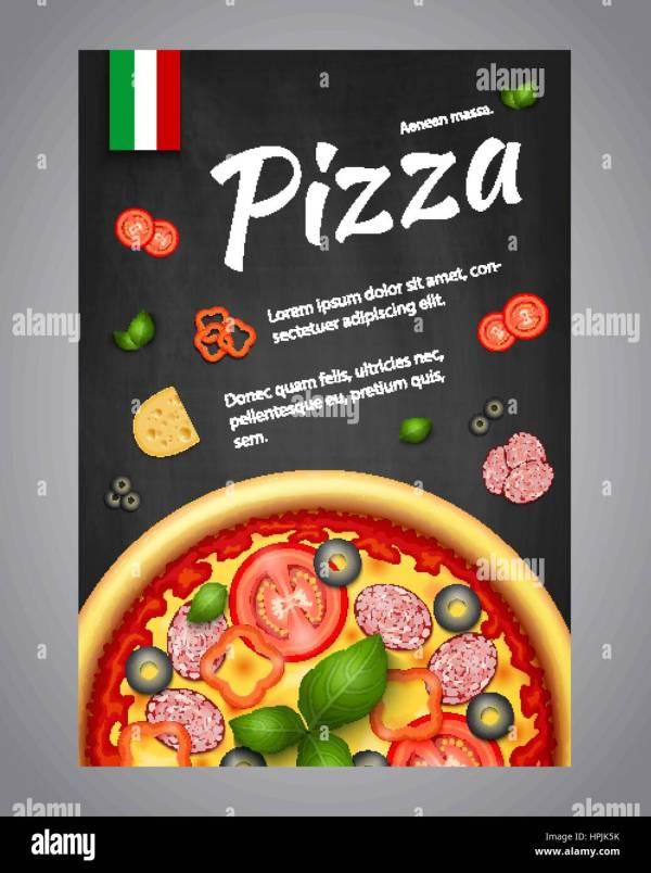 Realistic Pizza Pizzeria Flyer Vector Background. Vertical Italian Stock Art