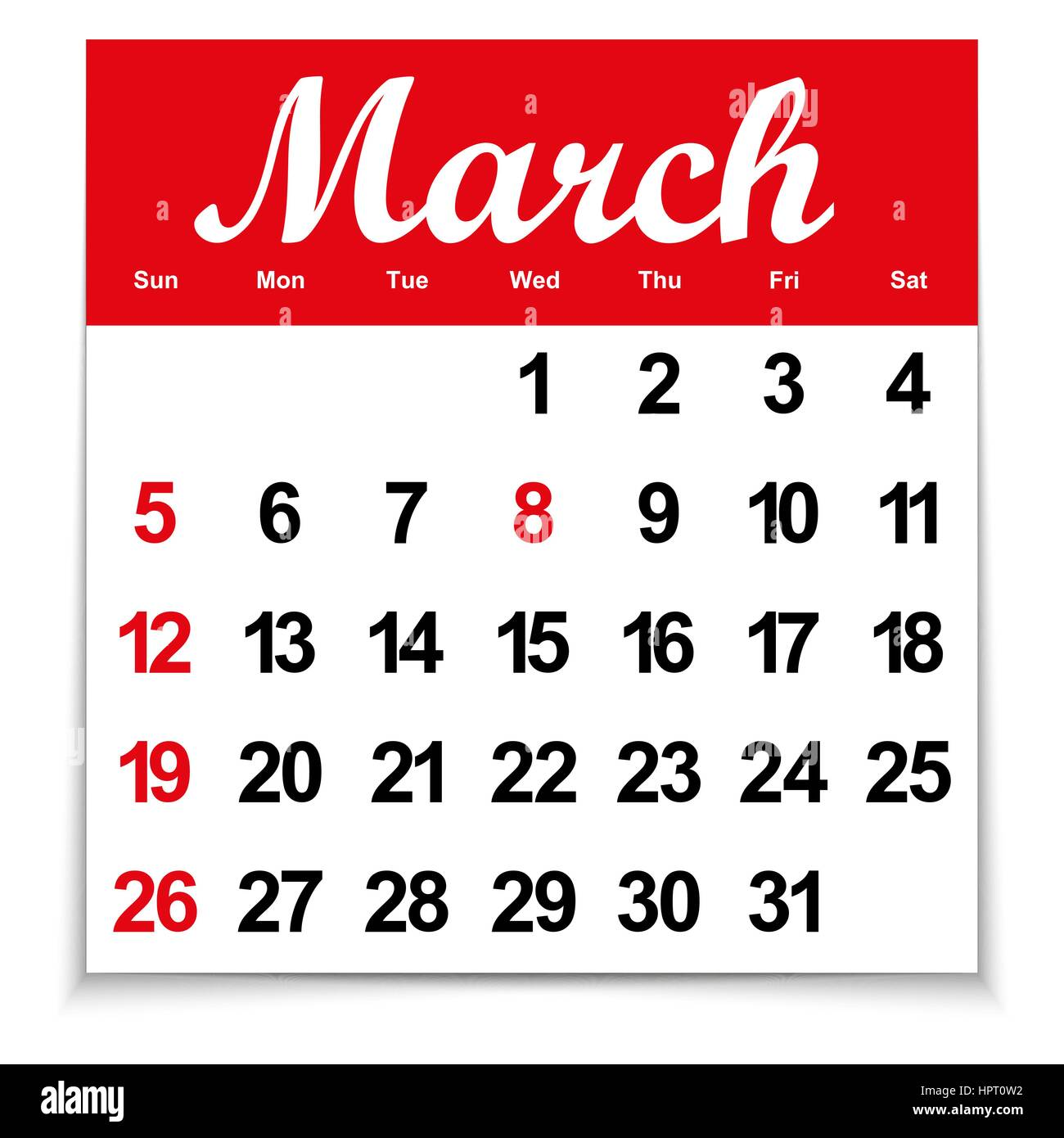 Leaf Calendar With The Month Of March Days Of The