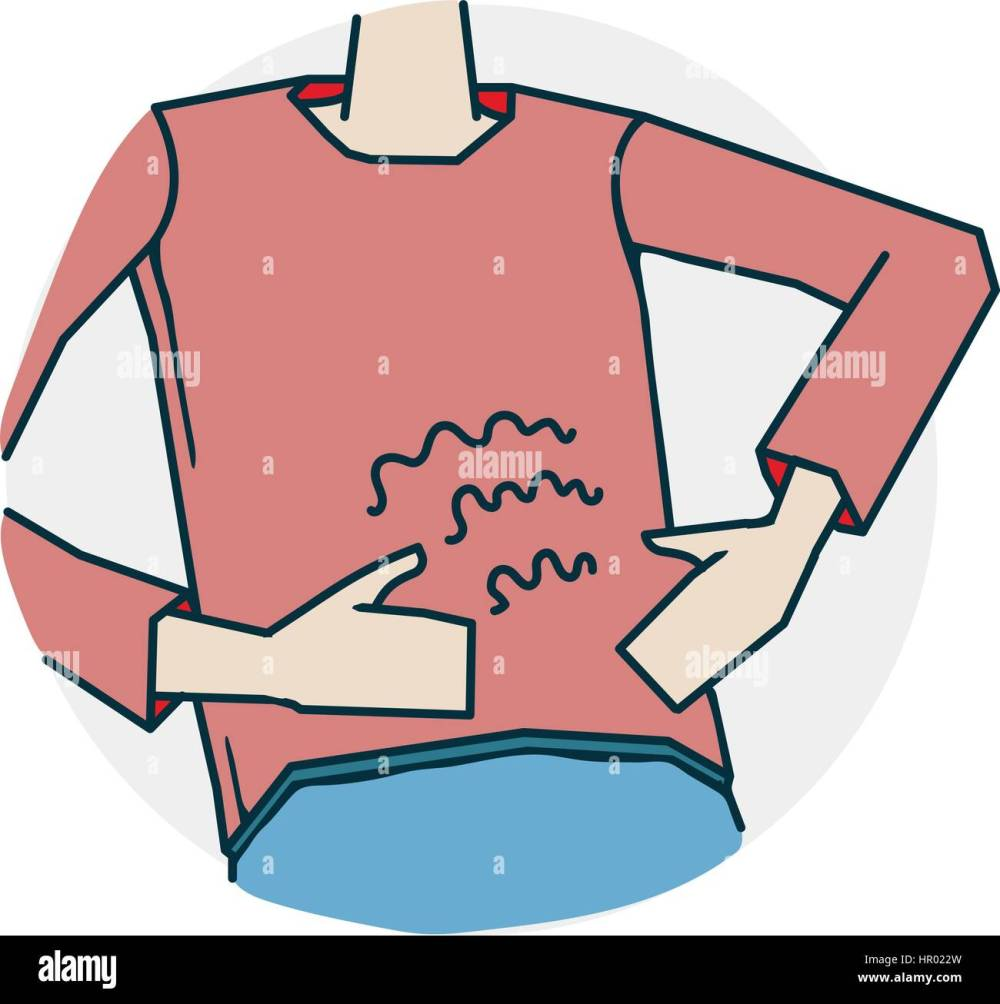 medium resolution of abdominal pain or indigestion problems with hearing and deafness illustration of a funny cartoon style