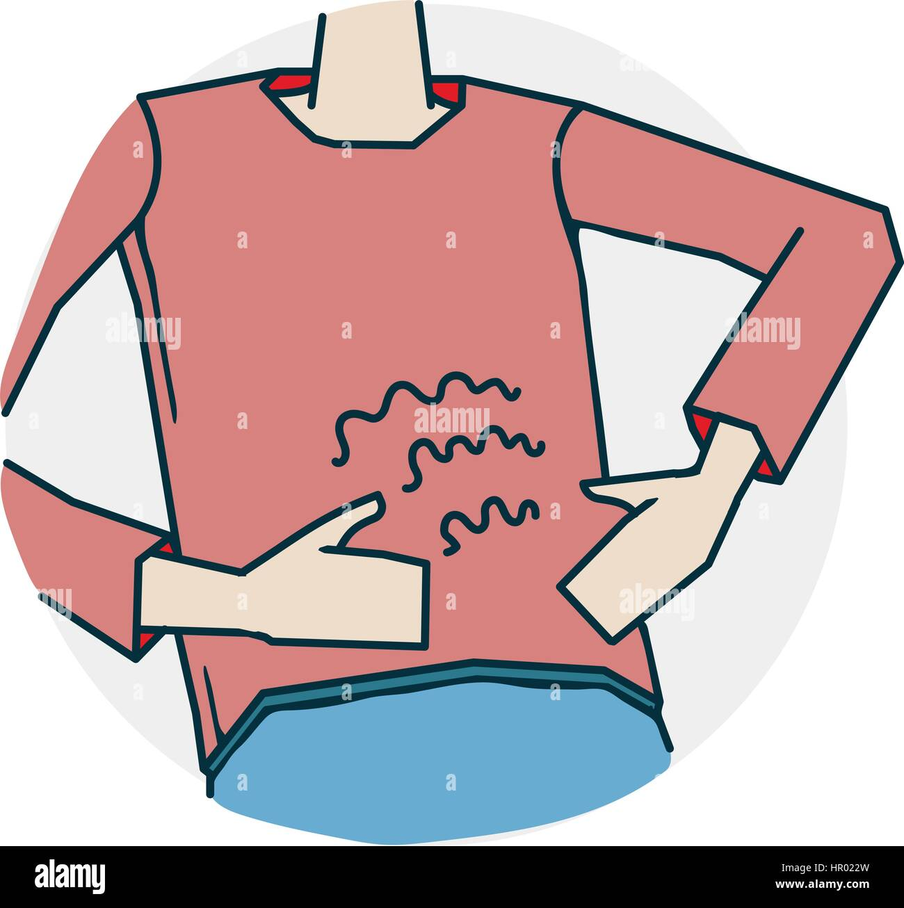 hight resolution of abdominal pain or indigestion problems with hearing and deafness illustration of a funny cartoon style