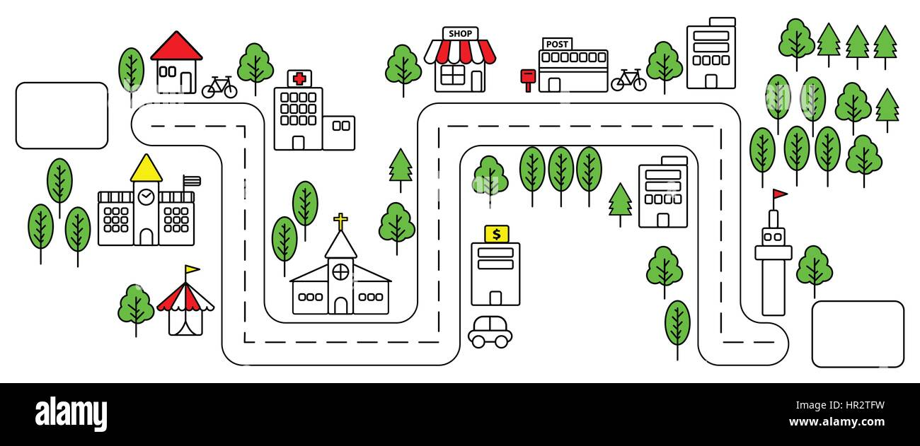 hight resolution of simple color line urban town map in flat design on white background