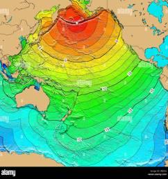 tsunami map aleutian islands earthquake 1957 stock image [ 1300 x 1300 Pixel ]
