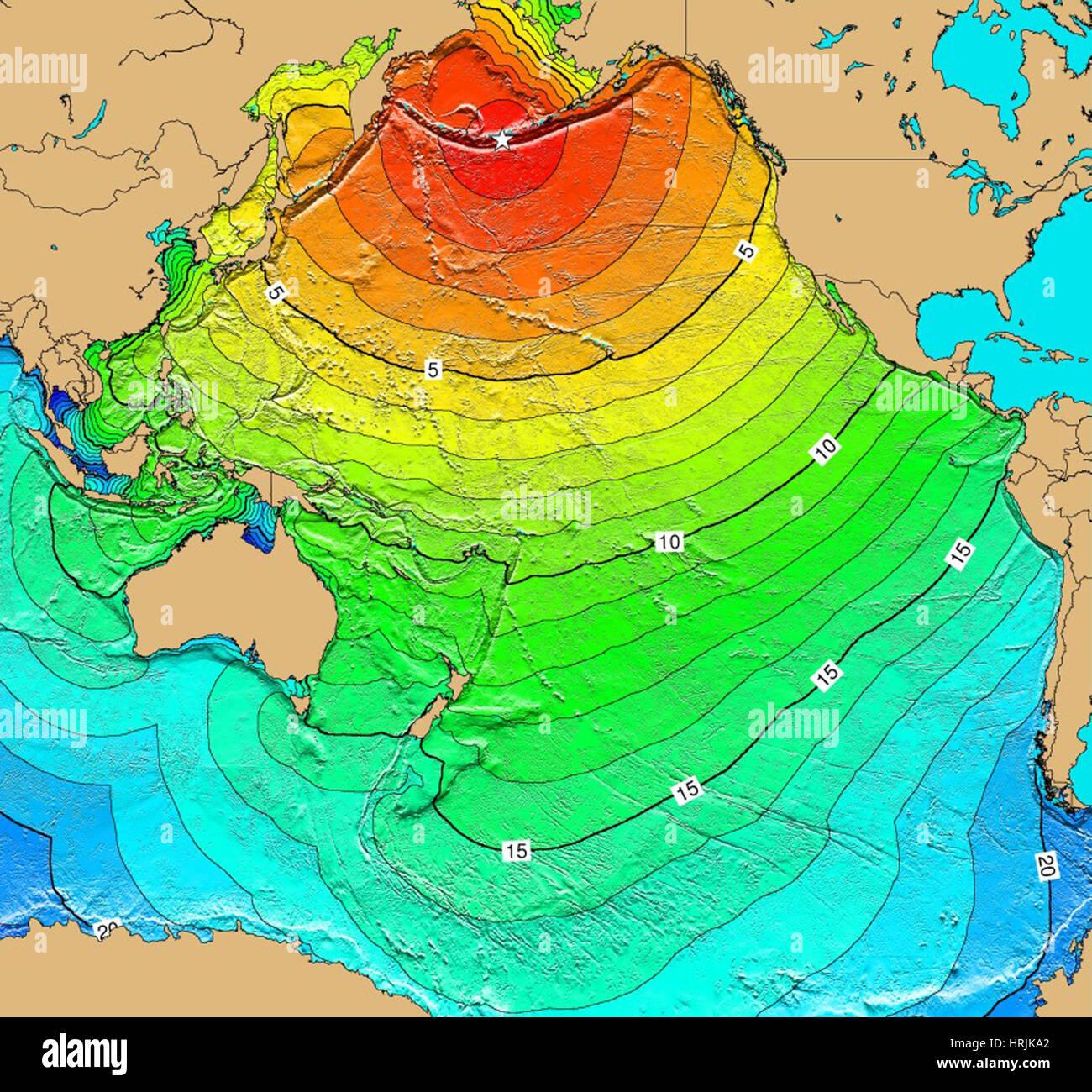 hight resolution of tsunami map aleutian islands earthquake 1957 stock image