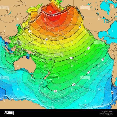 small resolution of tsunami map aleutian islands earthquake 1957 stock image