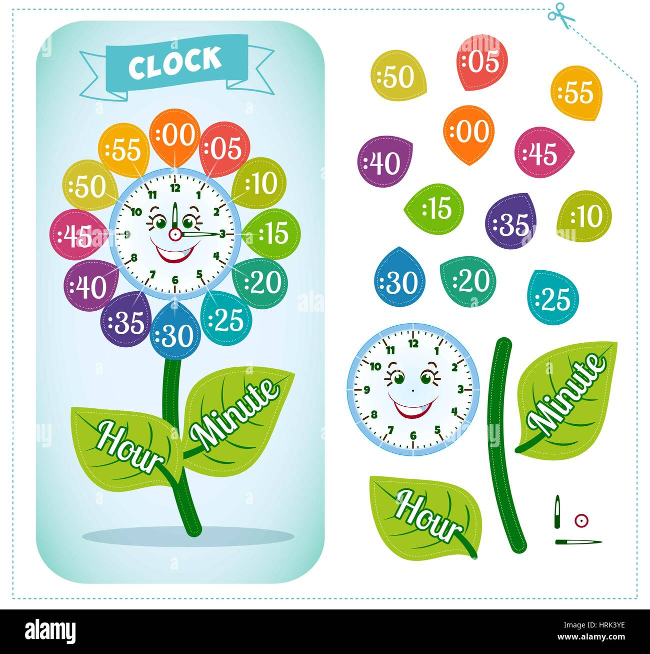 Telling Time Worksheet For School Kids To Identify The Time Clock Stock Vector Art