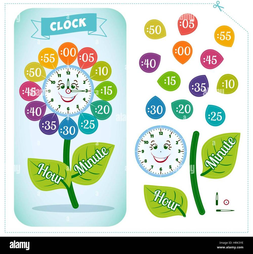 medium resolution of Telling time worksheet for school kids to identify the time. Clock Stock  Vector Image \u0026 Art - Alamy