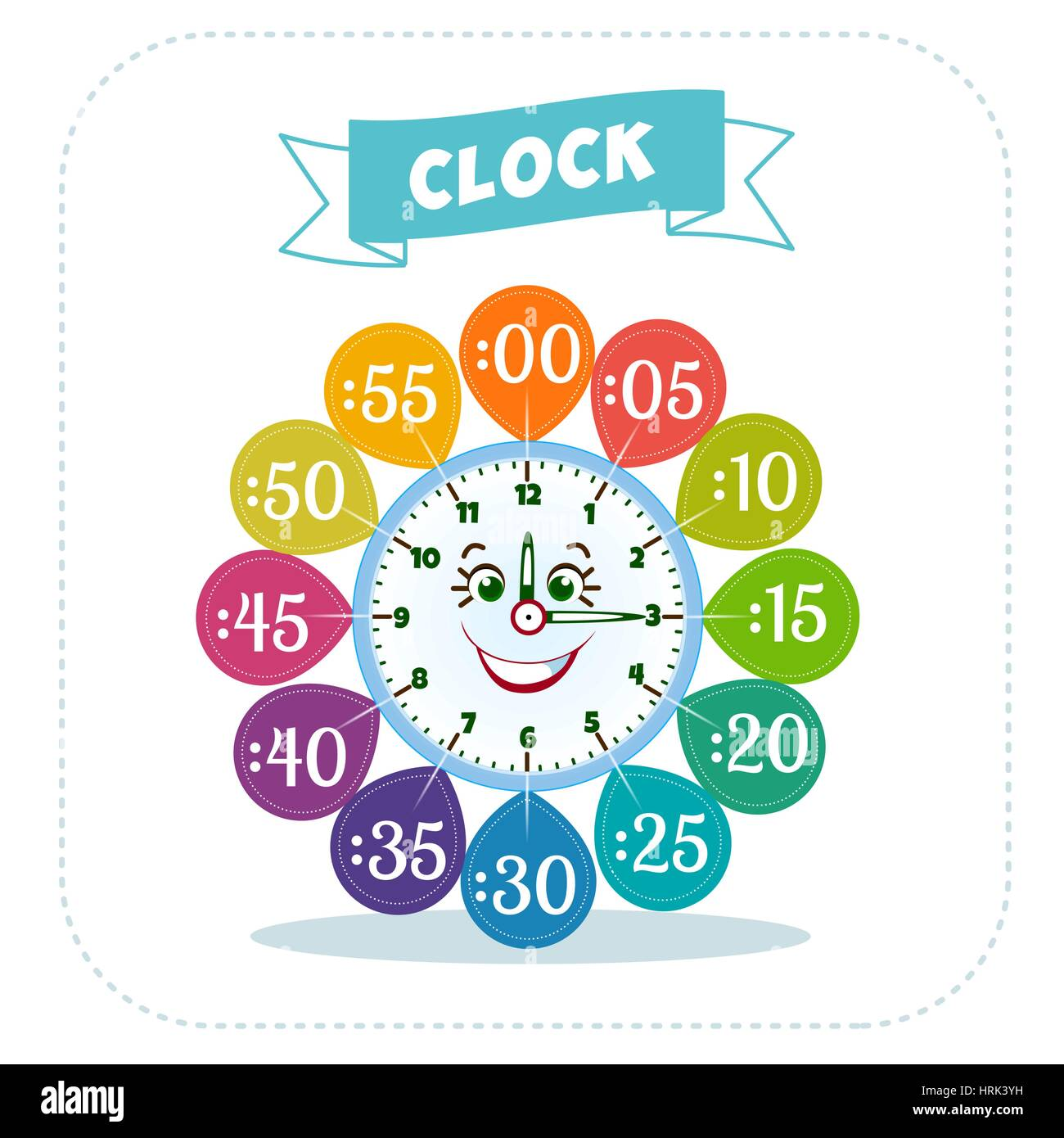 Telling Time Worksheet For School Kids To Identify The Time Game For Stock Vector Art
