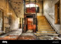 Vintage Lift Abandoned Hotel Lobby Stock