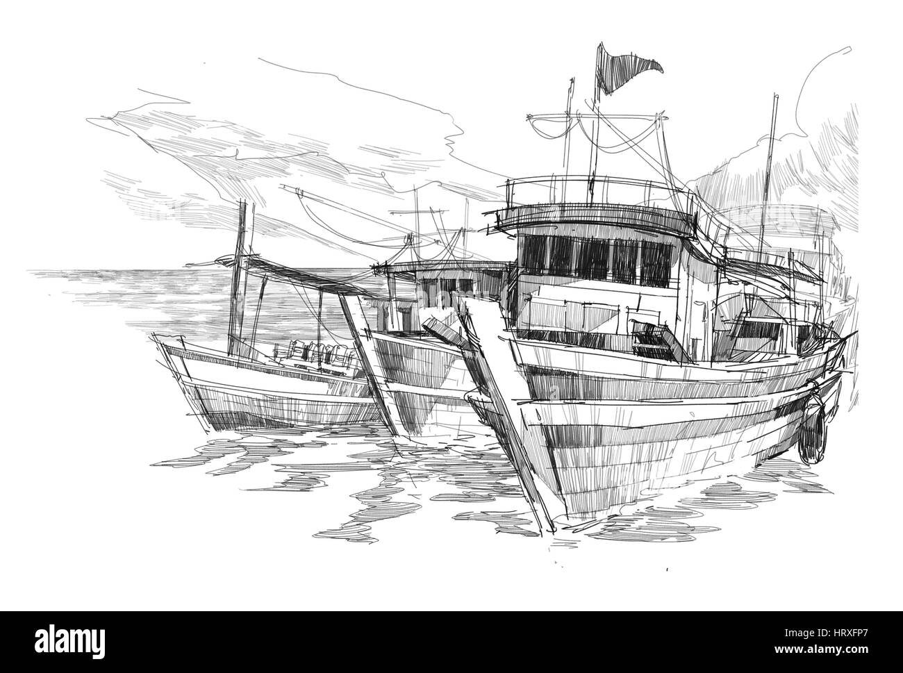 Pencil Sketch Boat High Resolution Stock Photography And Images Alamy