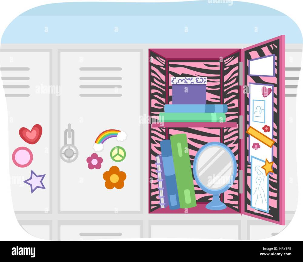medium resolution of illustration of a school locker customized according to the preference of the user